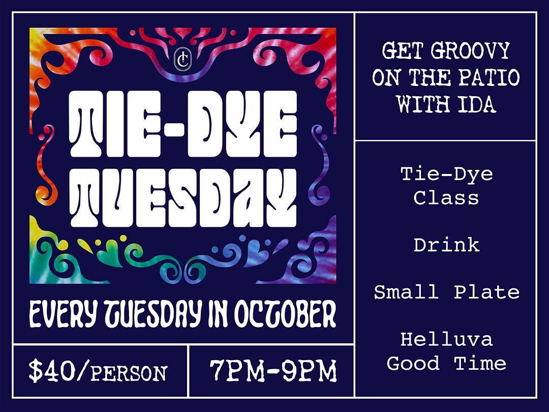 Ida Claire Tie-Dye Tuesday Every Tuesday in October